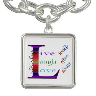 Charm Bracelet Vive bem, o riso frequentemente, ama sempre por