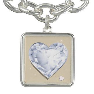 Charm Bracelets Coração azul legal do diamante de Birthstones