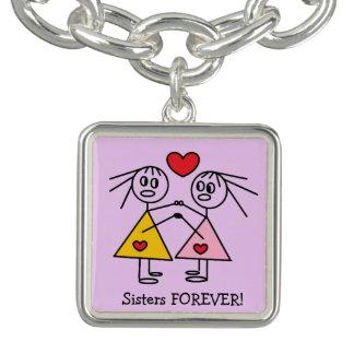 Charm Bracelets Das irmãs figuras bonitos design da vara da menina