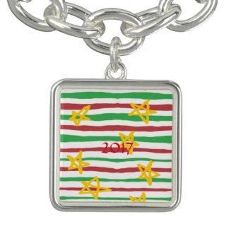 Charm Bracelets Estrelas em listras do Natal
