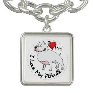 Charm Bracelets Eu amo meu cão de Pitbull