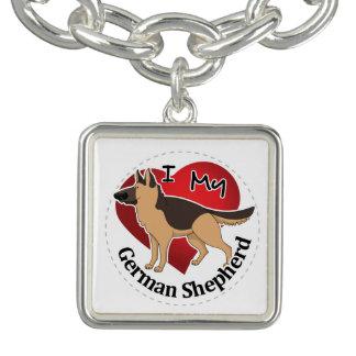 Charm Bracelets Eu amo meu german shepherd engraçado & bonito
