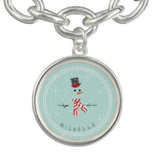 Charm Bracelets Hortelã ID440 do boneco de neve do Natal da mágica