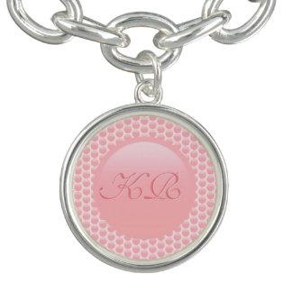 Charm Bracelets Iniciais do monograma em bolinhas do rosa