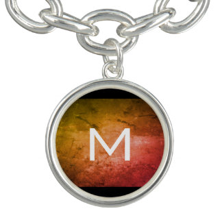 Charm Bracelets Laranja chique do Grunge com monograma