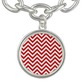 Charm Bracelets O ziguezague vermelho e branco listra o teste