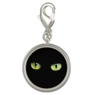Charm Com Foto Charms gato preto olhos verdes