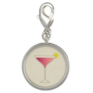 Charm Com Foto Cocktail cor-de-rosa com uma fatia de limão