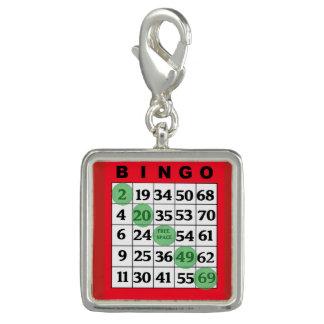 Charm Com Foto Encanto afortunado do cartão vermelho do BINGO