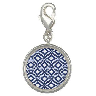 Charm Com Foto Geométrico azul e branco tribal