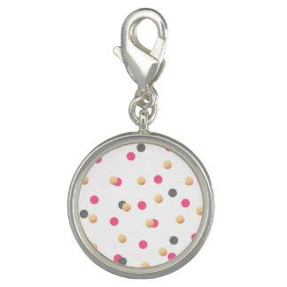 Charm Com Foto o confete cor-de-rosa cinzento do ouro elegante do