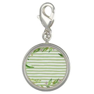 Charm Com Foto O verde corajoso da arte da aguarela listra o