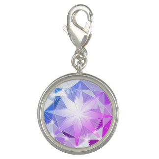 Charm Com Foto Olhar cor-de-rosa azul do cristal de rocha do