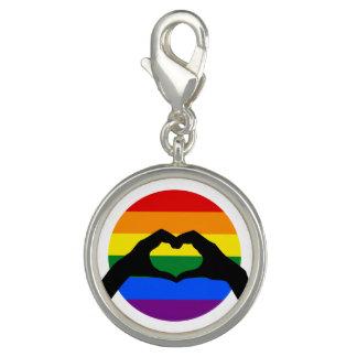 Charm Com Foto Silhueta do arco-íris do orgulho gay de LGBT e da