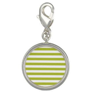 Charm Com Foto Teste padrão verde e branco da listra
