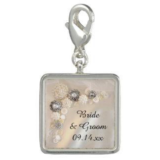 Charms Com Foto Botões brancos da pérola e do diamante que Wedding