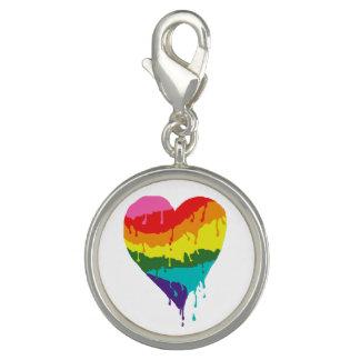 Charms Com Foto Coração do arco-íris