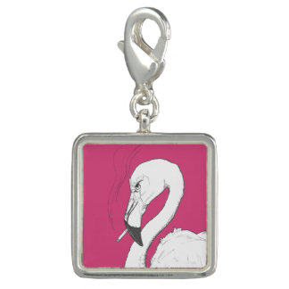 Charms Com Foto Encanto irritado do flamingo ou arte original do
