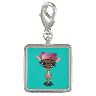 Charms Com Foto Girafa bonito do bebê que veste o chapéu do