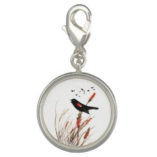 Charms Com Foto Melro da aguarela na arte do pássaro do pantanal