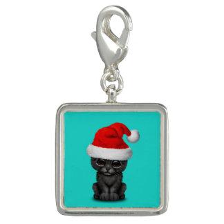 Charms Com Foto Pantera preta bonito Cub que veste um chapéu do