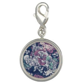 Charms Com Foto Teste padrão artística do esboço floral roxo azul