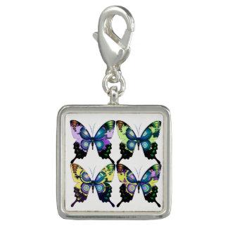 Charms Com Fotos Aqua, rosa, e amarelo - borboletas elegantes