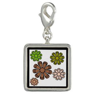 Charms Com Fotos Arte espiral da camuflagem da flor