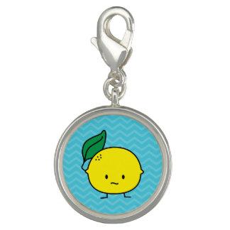 Charms Com Fotos Citrinos amarelos ácidos da folha do limão lemony