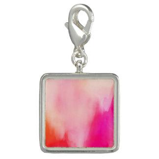 Charms Com Fotos Colorido alaranjado coral do rosa abstrato da
