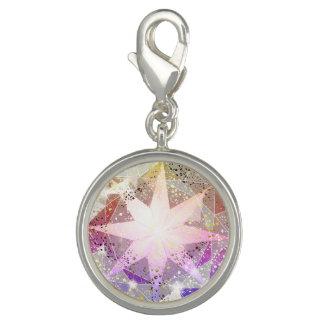 Charms Com Fotos Cristal de rocha cor-de-rosa do compasso da