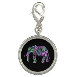 Charms Com Fotos elefante de néon floral tribal colorido