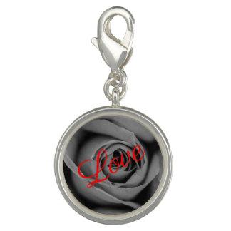 Charms Com Fotos Encanto monocromático do amor do rosa
