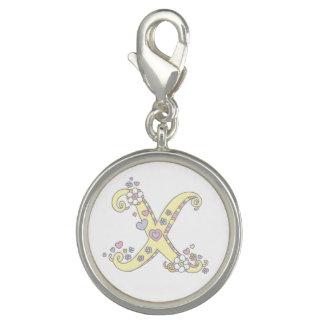 Charms Com Fotos Rotule o coração do monograma de X para florescer