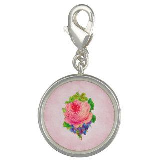 Charms Com Fotos Sprig violeta bonito do rosa cor-de-rosa bonito do