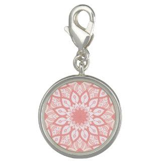 Charms Com Fotos Teste padrão geométrico da mandala floral rosado