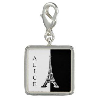 Charms Com Fotos Torre Eiffel branca preta