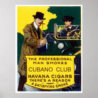 Charutos do clube de Cubano do vintage Poster