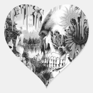 Chás de maio que derretem o crânio floral no cinza adesivo de coração