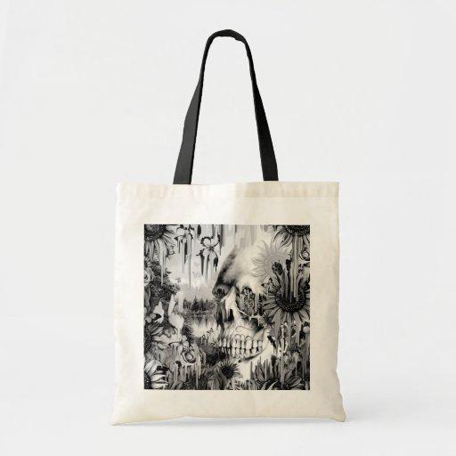 Chás de maio que derretem o crânio floral no cinza bolsas para compras