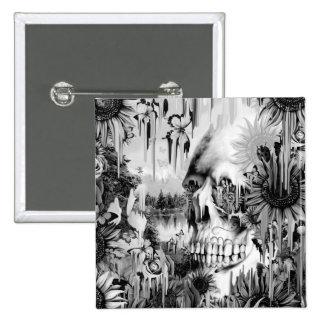 Chás de maio que derretem o crânio floral no cinza bóton quadrado 5.08cm