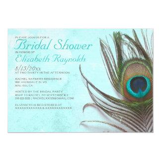 Chás de panela antigos da pena do pavão convite 12.7 x 17.78cm