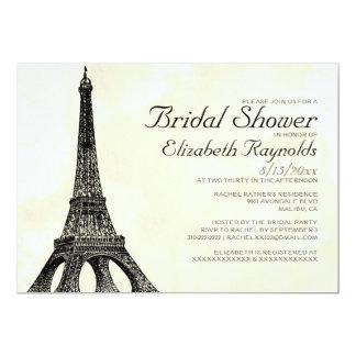Chás de panela antigos da torre Eiffel Convite 12.7 X 17.78cm