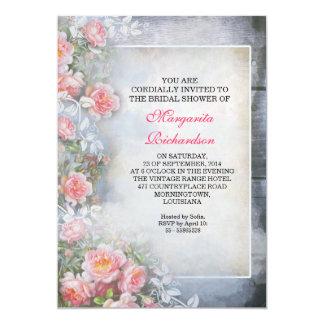 chás de panela antigos elegantes dos rosas convite 12.7 x 17.78cm