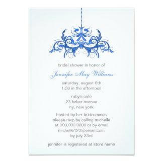 Chás de panela azuis convite 12.7 x 17.78cm