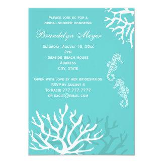 Chás de panela azuis do cavalo marinho do recife convite personalizado