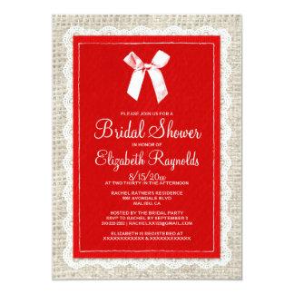 Chás de panela brancos vermelhos de serapilheira convites personalizados