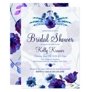 Chás de panela brilhantes das papoilas azuis convite 12.7 x 17.78cm