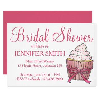 Chás de panela cor-de-rosa do costume do bolo do convite 12.7 x 17.78cm