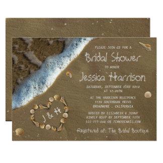Chás de panela da praia do coração do Seashell Convite 12.7 X 17.78cm